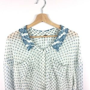 Free People Sheer Floral Blue & White Blouse